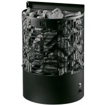 Sähkökiuas Teno E-malli, 6,6kW (6-9m³), musta