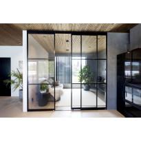 Tilanjakaja/liukuovi Mirror Line, kolmella ovella, musta, mittatilaus