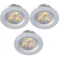 LED-alasvalosetti Markslöjd Zeus 3x1W 3000K IP44 3-osainen alumiini