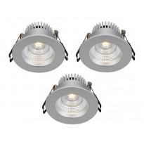 LED-alasvalosarja Markslöjd Ares, IP44, 3 kpl, hopea