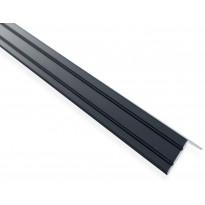 Askelkulmalista Maler uritettu, 25x20x2000mm, alumiini, tarra, musta anodisoitu
