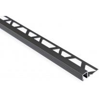 Laattalista Maler neliö, H8x24x2500mm, alumiini, harjattu teräs