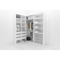 Walk-in closet L-malli, Mirror Line, 2200x1500x1800 mm, valkoinen