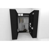 Walk-in closet U-malli Mirror Line, 2100/2400x1600x1800 mm, musta