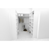 Walk-in closet U-malli Mirror Line, 2100/2400x1600x1800 mm, valkoinen