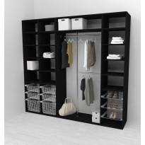 Walk-in closet 260 cm Mirror Line, 2100/2400x2600x510 mm, musta