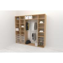 Walk-in closet 260 cm Mirror Line, 2100/2400x2600x510 mm, tammi
