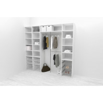 Walk-in closet 260 cm Mirror Line, 2100/2400x2600x510 mm, valkoinen