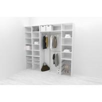 Walk-in closet 260 cm Mirror Line, 2100/2400x2600x510 mm, valkoinen, Verkkokaupan poistotuote