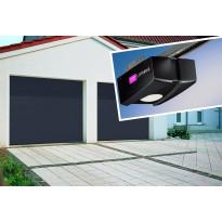 Autotallin nosto-ovi Isomatic Nordic, 2500x2000mm, vaakauritettu + avaaja Liftronic 500/700, tummanharmaa
