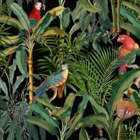 Paneelitapetti Mindthegap Parrots of brasil, 1.56x3m, musta