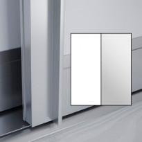 Liukuovet 2kpl Lumo - valkoinen + peili + kehys alumiini