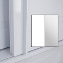 Liukuovet 2kpl Lumo - valkoinen + peili + kehys valkoinen