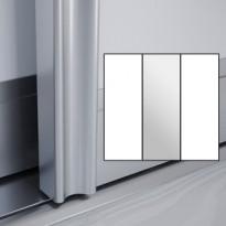 Liukuovet 3kpl Villa - valkoinen + peili + valkoinen + kehys hopea