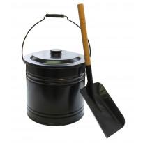 Tuhka-astiasetti, ämpäri+tuhkalapio, teräs, musta