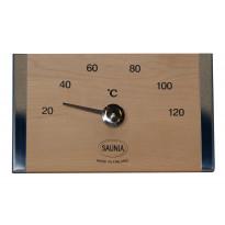 Saunan lämpömittari, 19x12cm, koivu/ruostumaton teräs