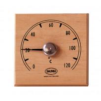 Saunan lämpömittari, 12x12cm, tervaleppä