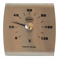 Saunan lämpömittari, 13x13cm, ruostumaton teräs, musta