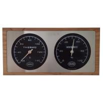 Saunan tuplamittari, 24,5x12,5cm, ruostumaton teräs/tervaleppä