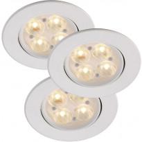 LED-alasvalosarja Nordlux Gefion, ø8,5cm, 3x3W, himmennettävä, valkoinen