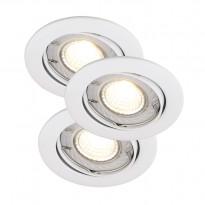 LED-alasvalosarja Nordlux Recess 3-Kit 3x35W GU10 Ø 80x90mm, valkoinen himmennettävä