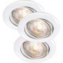 LED-alasvalosarja Nordlux Recess, 3x35W, IP23, säädettävä, valkoinen