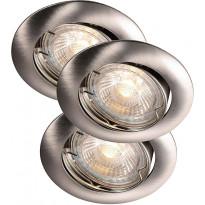 LED-alasvalosarja Nordlux Recess, 3x35W, IP23, säädettävä, harjattu teräs