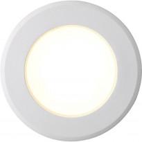 LED-alasvalo Nordlux Birla, ø9,5cm, IP44, himmennettävä, valkoinen