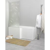 Suihkuseinä kylpyammeelle Noro Fix Trend 80, 810x1500 mm, käännettävä, kuviolasi Vallmo