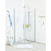Suihkunurkkaus Noro Fix Trend R 88, 800x800x1950 mm, mattahopea, kirkas lasi