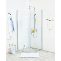 Suihkunurkkaus Noro Fix Trend R 99, 900x900x1950 mm, mattahopea, kirkas lasi