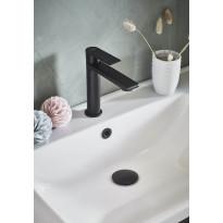 Pesualtaan ylivuotosuojan koristerengas Noro, metalli, musta