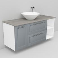 Allaskaappi marmoritasolla ja malja-allas Loop Noro Flexline 163.4 1200 harmaa raami