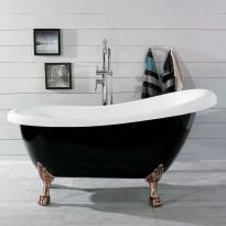Kylpyamme Noro  Old England 156, 180l, 1560x720mm, musta/valkoinen, eri tassu vaihtoehtoja