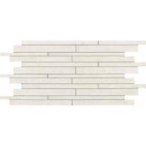 Mosaiikkilaatta NovaBell TriBeCa Mattoncino Titanio, 30x60, valkoinen