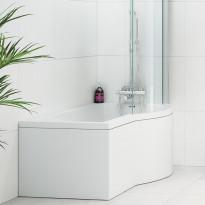 Etulevy kylpyammeeseen Nordhem Solvik Standard, 1500-1700mm, eri kokoja, valkoinen