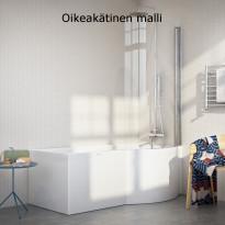 Kylpyamme Nordhem Solvik Standard, 1500-1700x900x590mm, eri kokoja, valkoinen