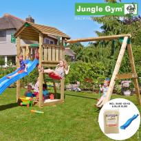 Leikkikeskus Jungle Gym Cottage, sis. keinumoduuli, 120 kg hiekkaa ja sininen liukumäki