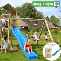 Leikkikeskus Jungle Gym Chalet, sis. keinumoduuli, 120 kg hiekkaa ja sininen liukumäki
