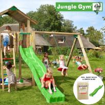 Leikkikeskus Jungle Gym Chalet, sis. keinumoduuli, 120 kg hiekkaa ja vihreä liukumäki