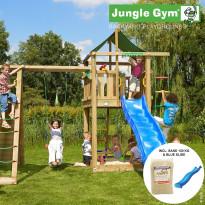 Leikkikeskus Jungle Gym Lodge, sis. kiipeilymoduuli, 120 kg hiekkaa ja sininen liukumäki