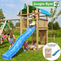 Leikkikeskus Jungle Gym Fort, sis. kiipeilymoduuli, 120 kg hiekkaa ja sininen liukumäki