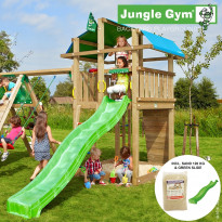 Leikkikeskus Jungle Gym Fort, sis. kiipeilymoduuli, 120 kg hiekkaa ja vihreä liukumäki