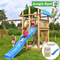 Leikkikeskus Jungle Gym Fort, sis. keinumoduuli, 120 kg hiekkaa ja sininen liukumäki
