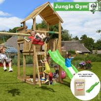Leikkikeskus Jungle Gym Palace, sis. keinumoduuli, 120 kg hiekkaa ja vihreä liukumäki