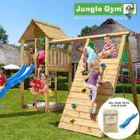 Leikkikeskus Jungle Gym Cabin, sis. kiipeilymoduuli, 120 kg hiekkaa ja sininen liukumäki