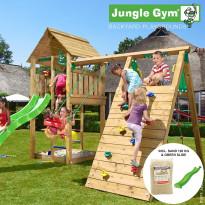 Leikkikeskus Jungle Gym Cabin, sis. kiipeilymoduuli, 120 kg hiekkaa ja vihreä liukumäki