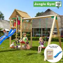 Leikkikeskus Jungle Gym Cabin, sis. keinumoduuli, 120 kg hiekkaa ja sininen liukumäki