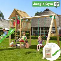 Leikkikeskus Jungle Gym Cabin, sis. keinumoduuli, 120 kg hiekkaa ja vihreä liukumäki