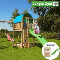Leikkikeskus Jungle Gym Villa, sis. keinumoduuli, 120 kg hiekkaa ja vihreä liukumäki